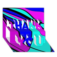 Purple And Blue Thank You 3d Greeting Card (7x5)  by Valentinaart