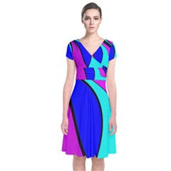 Purple And Blue Short Sleeve Front Wrap Dress