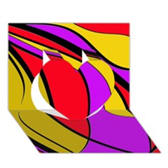 Colorful Lines Heart 3d Greeting Card (7x5)  by Valentinaart