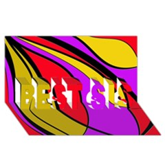 Colorful Lines Best Sis 3d Greeting Card (8x4)  by Valentinaart
