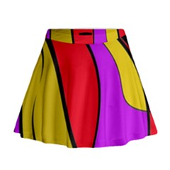 Colorful Lines Mini Flare Skirt by Valentinaart