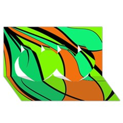 Green And Orange Twin Hearts 3d Greeting Card (8x4)  by Valentinaart
