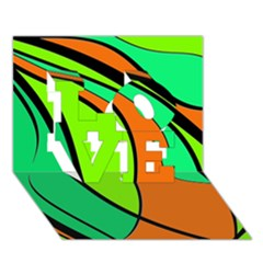 Green And Orange Love 3d Greeting Card (7x5)  by Valentinaart
