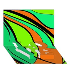 Green And Orange Love Bottom 3d Greeting Card (7x5)  by Valentinaart