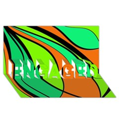 Green And Orange Engaged 3d Greeting Card (8x4)  by Valentinaart