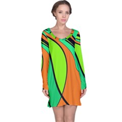 Green And Orange Long Sleeve Nightdress by Valentinaart