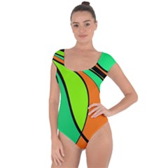 Green And Orange Short Sleeve Leotard  by Valentinaart