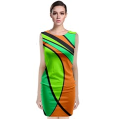 Green And Orange Classic Sleeveless Midi Dress by Valentinaart