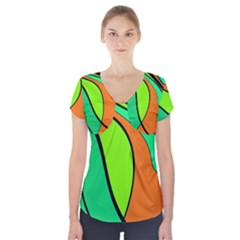 Green And Orange Short Sleeve Front Detail Top by Valentinaart