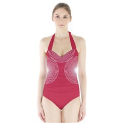 Circles Red Halter Swimsuit by olgart
