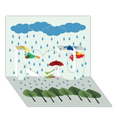 Birds In The Rain I Love You 3d Greeting Card (7x5)