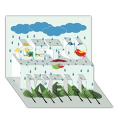 Birds In The Rain Get Well 3d Greeting Card (7x5)