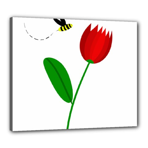Red Tulip And Bee Canvas 24  X 20
