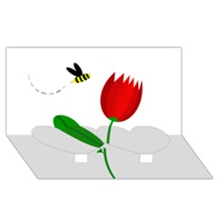Red Tulip And Bee Twin Heart Bottom 3d Greeting Card (8x4)