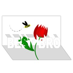 Red Tulip And Bee Best Bro 3d Greeting Card (8x4)  by Valentinaart