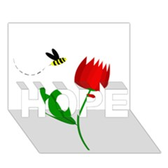 Red Tulip And Bee Hope 3d Greeting Card (7x5)  by Valentinaart
