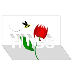 Red Tulip And Bee Hugs 3d Greeting Card (8x4)  by Valentinaart