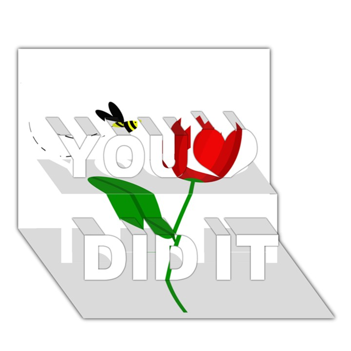 Red tulip and bee You Did It 3D Greeting Card (7x5)