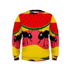 Ants And Watermelon  Kids  Sweatshirt by Valentinaart