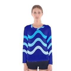 Blue Waves  Women s Long Sleeve Tee by Valentinaart