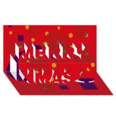 Red Abstract Sky Merry Xmas 3d Greeting Card (8x4)  by Valentinaart