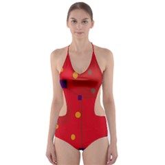 Red Abstract Sky Cut Out One Piece Swimsuit by Valentinaart