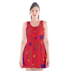 Red Abstract Sky Scoop Neck Skater Dress by Valentinaart