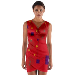 Red Abstract Sky Wrap Front Bodycon Dress by Valentinaart