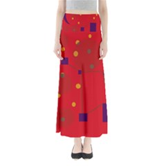 Red Abstract Sky Maxi Skirts