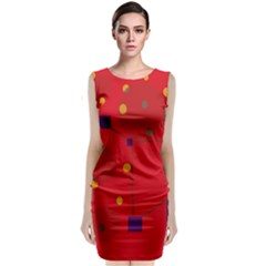 Red Abstract Sky Classic Sleeveless Midi Dress