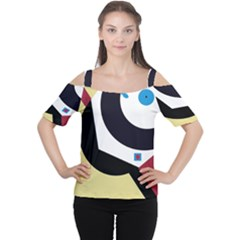 Digital Abstraction Women s Cutout Shoulder Tee