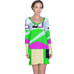 Abstract Landscape  Long Sleeve Nightdress by Valentinaart