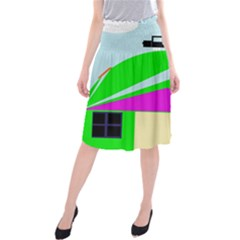 Abstract Landscape  Midi Beach Skirt by Valentinaart