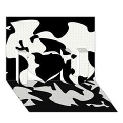 Black And White Elegant Design I Love You 3d Greeting Card (7x5)