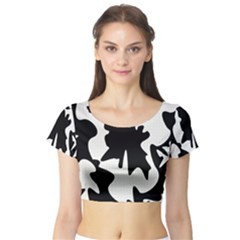Black And White Elegant Design Short Sleeve Crop Top (tight Fit) by Valentinaart