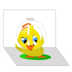 Cute Chicken  Peace Sign 3d Greeting Card (7x5)