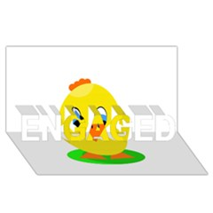 Cute Chicken  Engaged 3d Greeting Card (8x4)  by Valentinaart