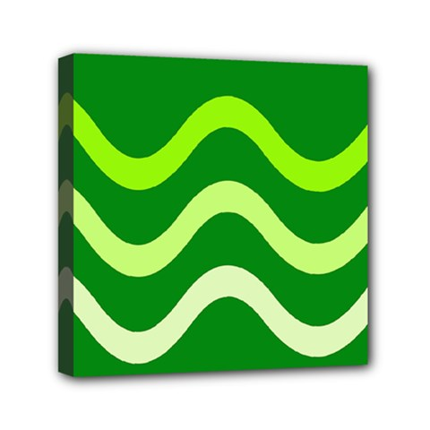 Green Waves Mini Canvas 6  X 6  by Valentinaart