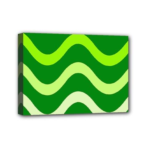 Green Waves Mini Canvas 7  X 5  by Valentinaart