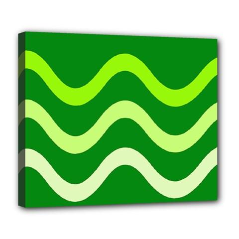 Green Waves Deluxe Canvas 24  X 20   by Valentinaart