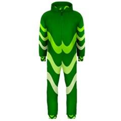 Green Waves Hooded Jumpsuit (men)  by Valentinaart