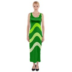 Green Waves Fitted Maxi Dress by Valentinaart