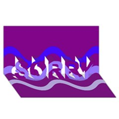 Purple Waves Sorry 3d Greeting Card (8x4)  by Valentinaart