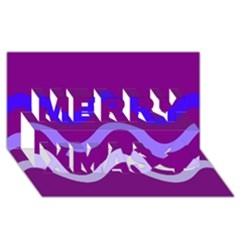 Purple Waves Merry Xmas 3D Greeting Card (8x4)  by Valentinaart
