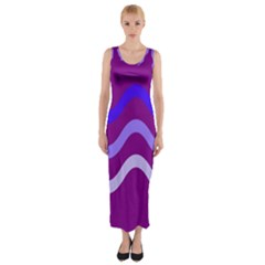 Purple Waves Fitted Maxi Dress by Valentinaart