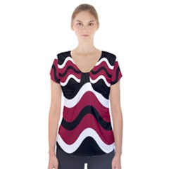 Decorative Waves Short Sleeve Front Detail Top by Valentinaart