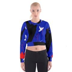 Night birds  Women s Cropped Sweatshirt by Valentinaart