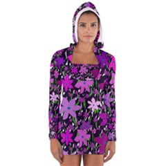 Purple Fowers Women s Long Sleeve Hooded T Shirt by Valentinaart