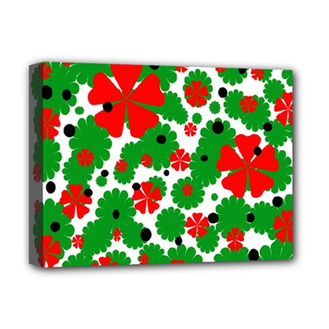 Red And Green Christmas Design  Deluxe Canvas 16  X 12   by Valentinaart