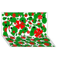 Red And Green Christmas Design  Twin Hearts 3d Greeting Card (8x4)  by Valentinaart